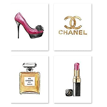 Fashion wall art #A107 - Set of 4 (8x10) art prints. Fashion poster. Illustration. art print.Chanel poster.artwork.Fashin pictures.makeup poster