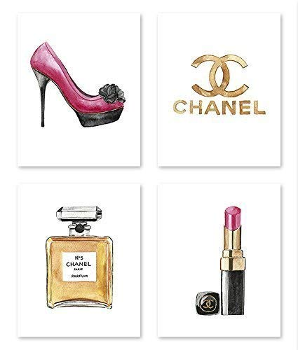 (Fashion wall art #A107 - Set of 4 (8x10) art prints. Fashion poster. Illustration. art print.Chanel poster.artwork.Fashin pictures.makeup poster)