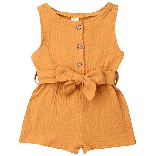 nvIEFE Peuter Baby Meisje Katoen Romper Mouwloos Bodysuit Een Stuk Jumpsuit Baby Outfits met Tailleband