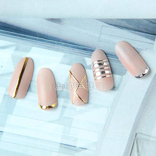 (Nail jewelry nail line nail jewelry adhesive decorative line gold and silver line modeling border nail stickers@Normal specifications_One white line on the 27th)