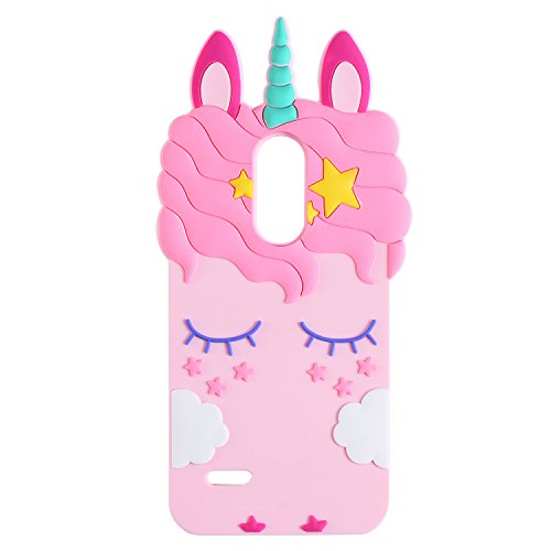 Pink Unicorn Case for LG Fortune 2,Aristo 2 X210,Cute 3D Cartoon Animal Cover,Kids Girls Soft Silicone Kawaii Character Skin for LG Zone 4,Risio23,Rebel 2/3,Tribute Dynasty,Phoenix3,LG K8 2018,2017