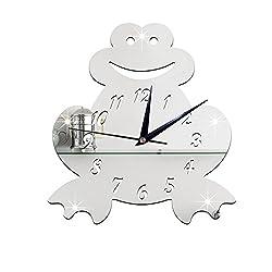 WuuLii Decor Wall Clock-Mirror Clock -3D Children's Room Silent Clock Wall Sticker Wall Clock Cartoon frog mirror clock, Silver