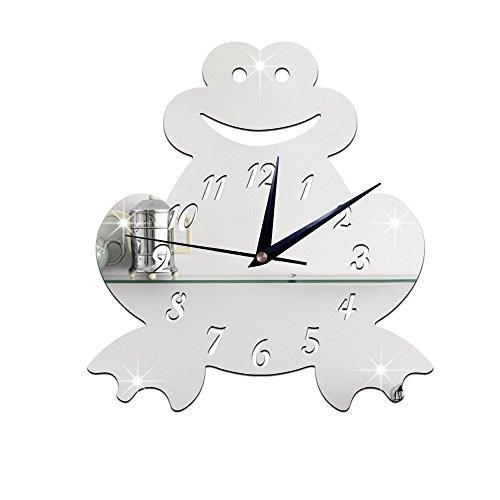 - WuuLii Decor Wall Clock-Mirror Clock -3D Children's Room Silent Clock Wall Sticker Wall Clock Cartoon frog mirror clock, Silver