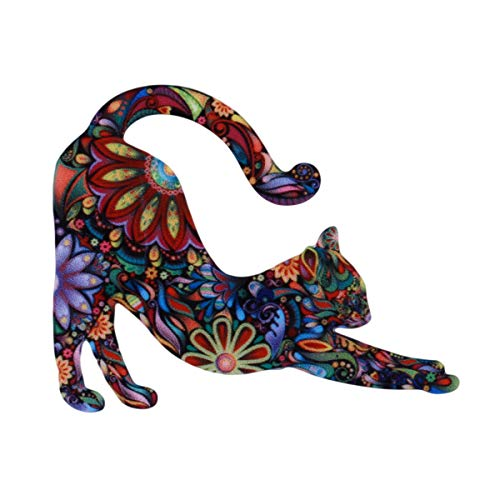 Beiswe Creative Animals Cats Brooches Acrylic Ornament Clothing Denim Badge Pins for Girls Ladies Charm Jewelry Accessories