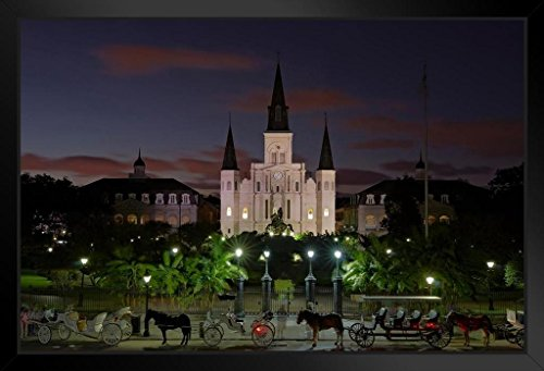 Jackson Square Dusk Saint Louis Cathedral French Quarter New Orleans Photo Art Print Framed Poster 20x14 inch ()