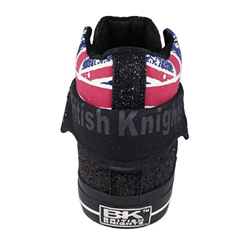 British Knights Damen High Top Sneaker Union Jack Glitter Textile Schwarz