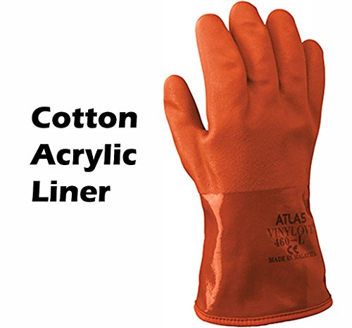 Atlas Showa - Small (24-Pair) - Cold Weather Double-Dipped PVC Freezer Work Gloves with Insulated Acrylic Liner & Rough Grip - Orange - 460 by Atlas (Image #4)
