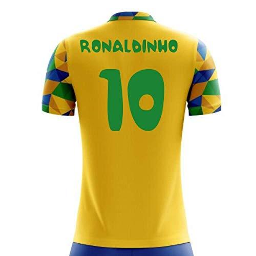 9d534ab1cc3 Airosportswear 2018-2019 Brazil Home Concept Football Soccer T-Shirt Jersey  (Ronaldinho 10) - Kids