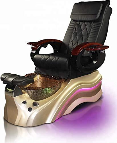 Salon Shiatsu Massage Pedicure Foot Spa Chair w/Pipeless Tub Basin Tub and Operator Stool - LED Lights (BLACK CHAIR) (Gold Basin) ()