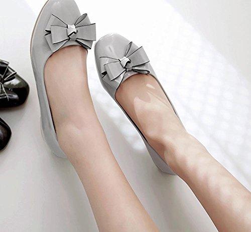 Latasa Mujeres Bow Square-toe Flats Zapatos Gris