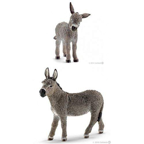 Schleich Set of Two Farm Animals: Donkey and Foal (13746 and 13772) Quality Toys Bagged Together