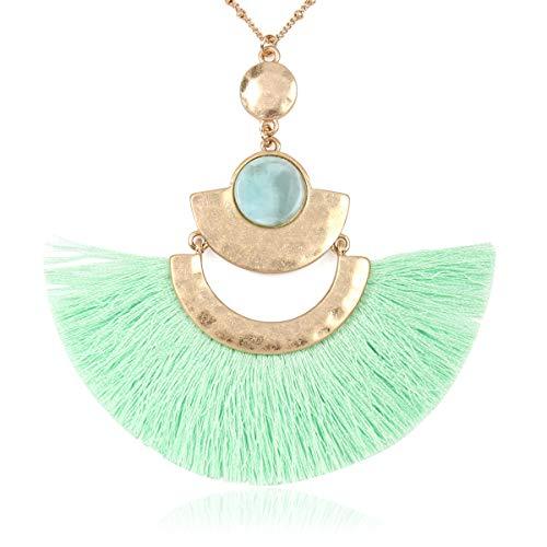 (RIAH FASHION Bohemian Fringe Tassel Pendant Statement Necklace - Silky Strand Semi Circle Thread Fan Charm Long Chain (Fan Tassel - Mint))
