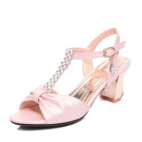1TO9 Womens Studded Rhinestones Metal Buckles European Style Pink Soft Material Sandals - 7 B(M) US for $<!--$33.99-->
