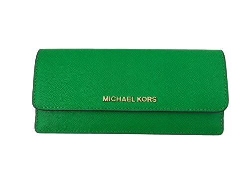 Michael Kors Jet Set Travel Saffiano Leather Slim Flat Wallet in Palm Green - Green Flat Wallet