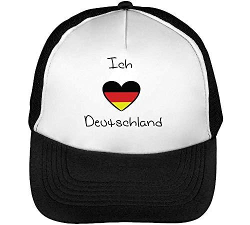 Beisbol Snapback Hombre Gorras Deutschland Negro Ich Blanco Liebe XwUPP1