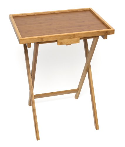 Lipper International 801 Bamboo Wood Lipped Snack Tables, 20'' x 15'' x 25.5'' by Lipper International