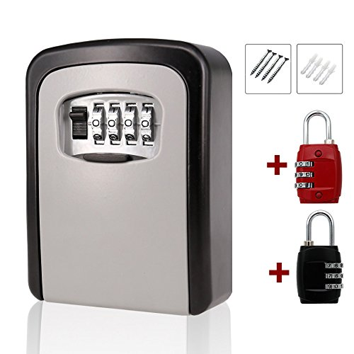 MIONI Key Storage Lock Box Wall Mounted Key Holder with 4-Digit Combination Security Storage Organizer +2ps Luggage Lock(1+2ps,Black/red) by mioni