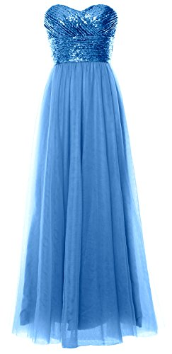 MACloth Women Long Bridesmaid Dress Strapless Sequin Wedding Party Formal Gown Azul
