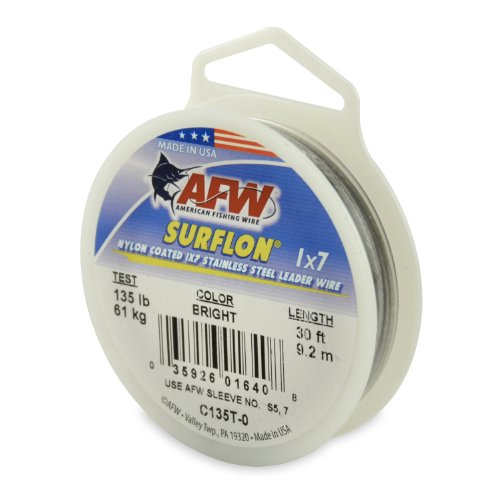 American Fishing Wire Surflon Nylon Coated 1x7 Stainless Steel Leader Wire, Bright Color, 135 Pound Test, 30-Feet