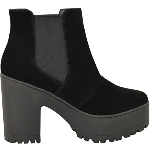 Fashion Thirsty Womens Chelsea Ankle Boots Chunky Platforms Block High Heels Slip On Size Black Faux Suede nvq0tIX