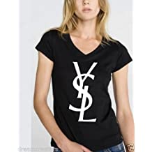 YSL BLACK Novelty Womans Black VNeck High Fashion Shirt
