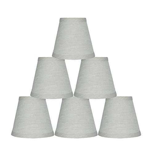 Urbanest Set of 6 Oatmeal Pure Linen Chandelier Lamp Shade,