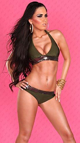 Bikini Para Mujer Con Lentejuelas en caqui Negro XXS XS S M de Lingerie marrón claro