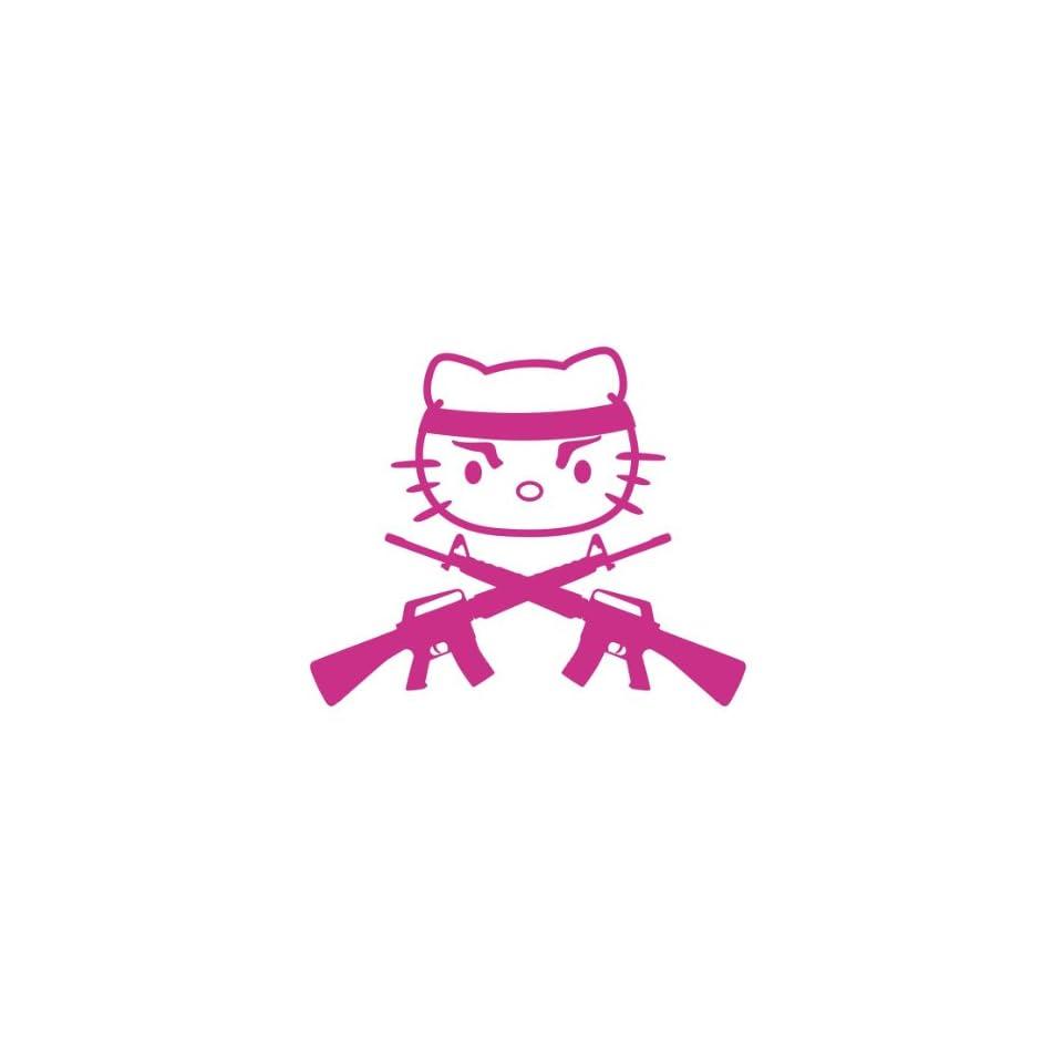Hello Kitty Gun Pink Machine Gun Vinyl Decal Sticker