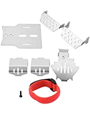 6 Pcs RC Chassis Armors Set, Stainless Steel Chassis Armors Protection Skid Plate for Traxxas RC Car RC Part Accessory Silver