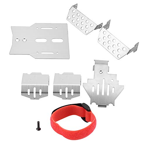 Rc Chassis Set - 6 Pcs RC Chassis Armors Set, Stainless Steel Chassis Armors Protection Skid Plate for Traxxas TRX-4 RC Car RC Part Accessory Silver