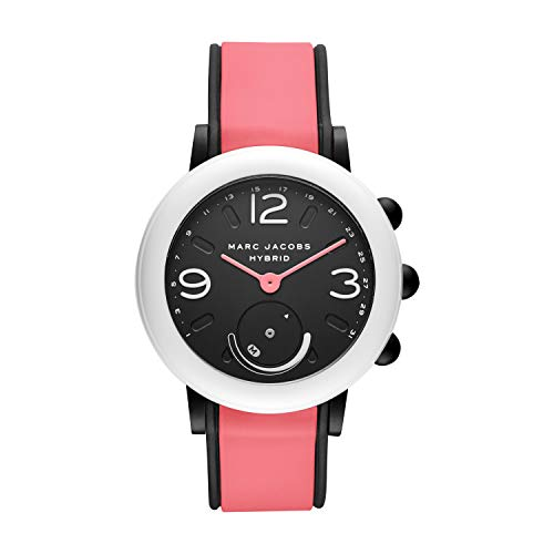 Marc Jacobs Women's Riley Nylon and Silicone Hybrid Smartwatch, Color: White, Pink (Model: MJT1009)