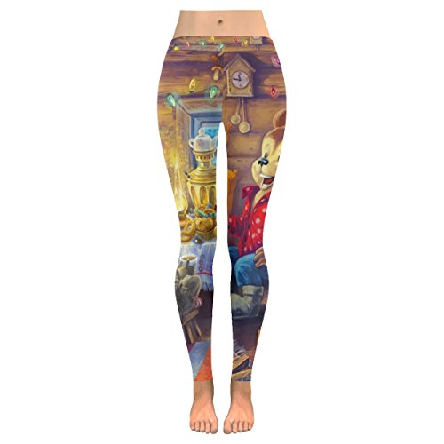 InterestPrint Merry Christmas Mickey Mouse Custom Stretchy Capri Leggings Skinny Pants for Yoga Running Pilates Gym 5XL -