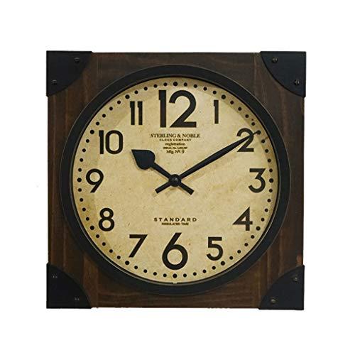 ZLZGZ Square Wall Clock, Wood Quartz Clock, Arabic Numerals, 16 Inches, Suitable for Porch/Wall/Cafe - Arabic Square Clock