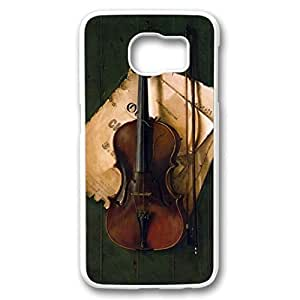 iCustomonline Case for Samsung galaxy S6 PC, Violin Protective Skin New Printed Slim Clear Colorful Stylish Artist series Back Case for Samsung galaxy S6 PC White