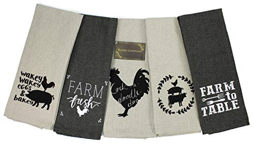 Rustic Covenant Woven Cotton Farm to Table Tea Towels, 28 inches by 16 inches, Set of 5
