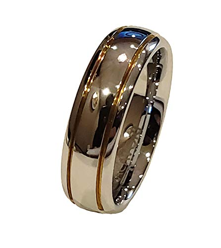 (MACAIORI White Tungsten Carbide 6mm Men's/Women's Classic Wedding Band Double Stripe Ring Size 7)