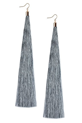 Mina Gold Long Tassel Draping Extra Long 8.5 Inch Flowy Shoulder Duster Light Gray Earring