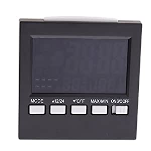 Magideal termómetro Monitor, humedad Monitor pantalla LCD electrónico digital pantalla interior medidor de temperatura medidor de humedad con alarma reloj, calendario, retroiluminación Control de voz Negro