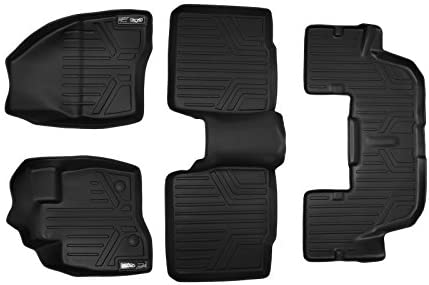 MAXLINER Floor Mats 3 Row Liner Set Black for 2015-2016 Ford Explorer without 2nd Row Center Console
