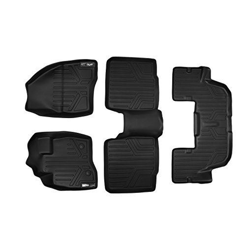 SMARTLINER Floor Mats 3 Row Liner Set Black for 2015-2016 Ford Explorer without 2nd Row Center Console