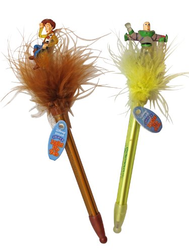 2 Piece Woody and Buzz Disney Toy Story Jiggly Light Up Pens with Furry (Jiggly Pen)
