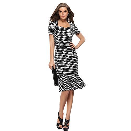 Kstare Dresses Work Casual Dress Lattice Short Sleeve Boat Neck Hidden Zipper Back Sashes Vase Slim Fit Dress