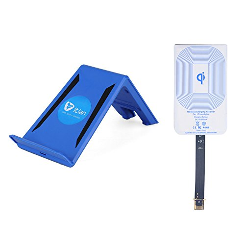 Mikobox Portable Wireless Charger Charging Transmitter Mount Pad + Receiver Receptor Adapter For Iphone 6(A6BLUE Pad+Iphone 6 Plus Receiver)