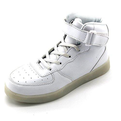 Jiujings Seymezliwe Donna Uomo Alta Cool Alta Scarpe Led Led Luce Su Sneaker E 7 Colori Luce E Caricabatterie Usb Lampeggiante Sneakers Scarpe Per Adulti Bianco05
