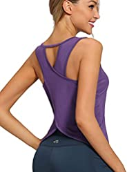 AS ROSE RICH Workout Tops for Women - Tank Tops for Gym, Yoga, Running - Crossover Open Back Design