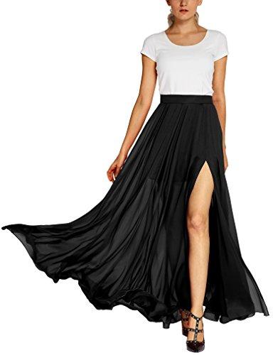 Urban CoCo Women's Fashion Solid Color Flowy Split Long Maxi Skirt (XL, Black)
