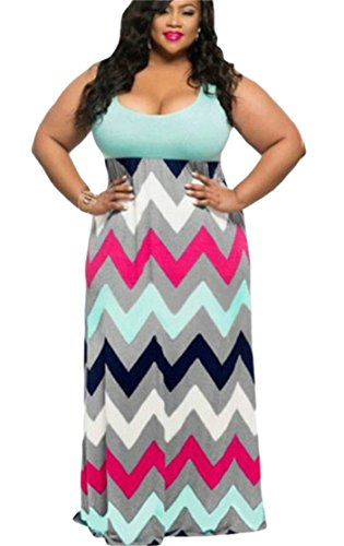 Long Contrast Print Green Plus Dress Sleeveless Size Classic Color Domple Women 87xWXwqvE