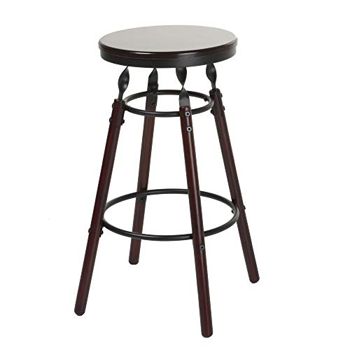 Fashion Bed Group Boston Backless Seat Counter Stool with Dark Cherry Finished Wood Frame, Footrest and Twisted Charcoal Metal Posts, 26-Inch Seat Height ()