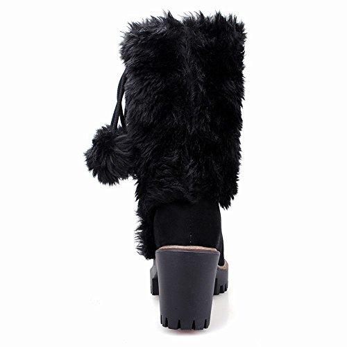 Carolbar Mujer's Pom-poms Cute Faux Fur Platform Botas De Nieve De Tacón Alto Negro