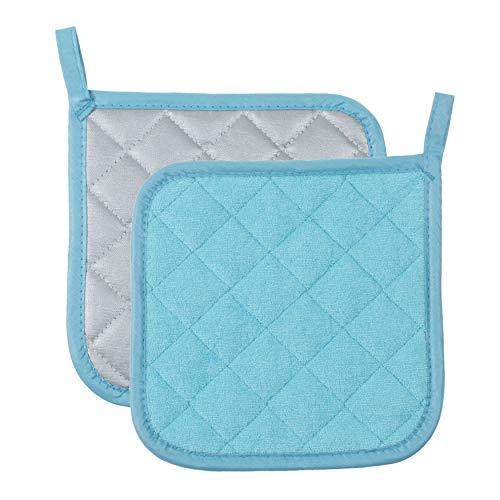 Pot Holders Cotton Made Machine Washable Heat Resistant Potholder, Pot Holder, Hot Pads, Trivet for Cooking and Baking (2, Blue)